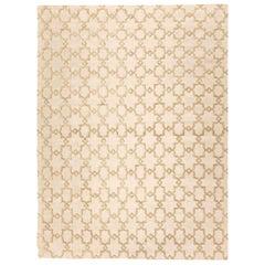 Silk and Wool Handmade Rug Beige Soft Color Geometric Design