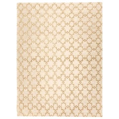 Silk and Wool Handmade Rug Beige Soft Color Geometric Design