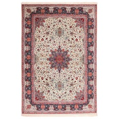 Silk and Wool Large Vintage Tabriz Persian Rug. Size: 11 ft 6 in x 16 ft 6 in
