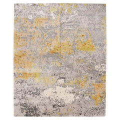 Silk and Wool Rug, Abstract Design
