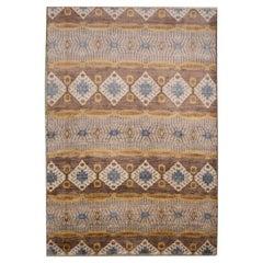 Silk and Wool Rug, Ikat Design