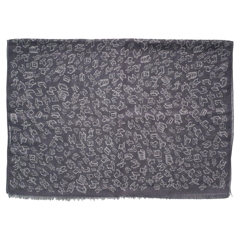 Silk and Wool Unisex Scarf, Gray with Geometric Drawings, Made in Italy For Sale