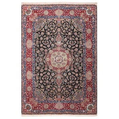 Silk and Wool Vintage Tabriz Persian Rug. Size: 11 ft 8 in x 17 ft