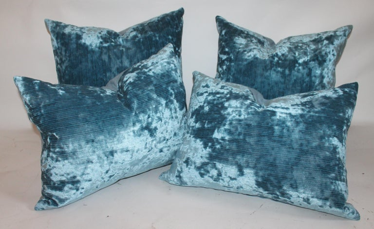 These amazing silk velvet pillows are in pristine condition and have robin egg blue cotton linen backings. We can sell them for 495.00 a pair or 895.00 for both pairs. The condition is pristine.