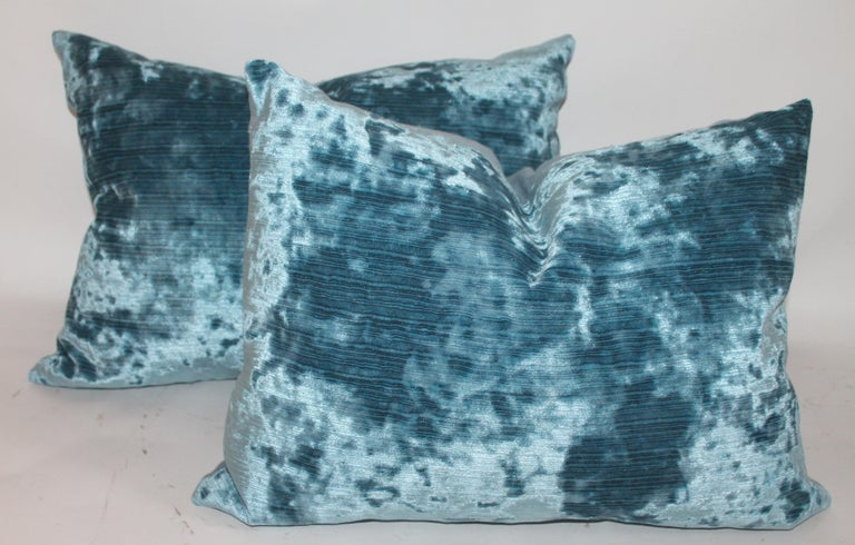 Country Silk Aqua Velvet Pillows/Collection of Four For Sale