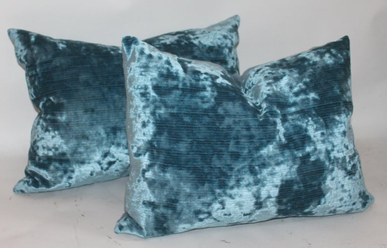 American Silk Aqua Velvet Pillows/Collection of Four For Sale
