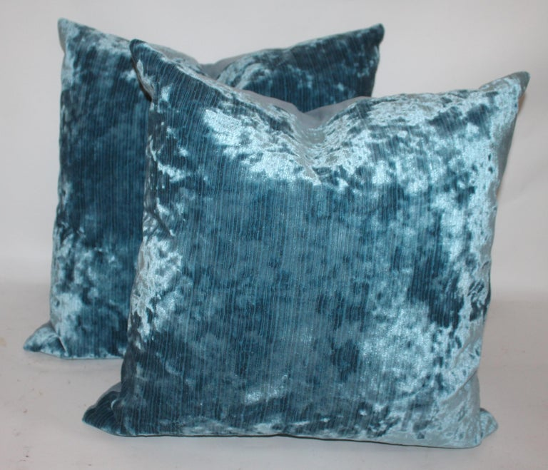 Hand-Crafted Silk Aqua Velvet Pillows/Collection of Four For Sale