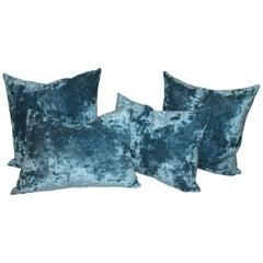 Silk Aqua Velvet Pillows/Collection of Four
