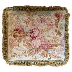 Silk Aubusson Cushion Cover, Floral Needlepoint Pillow Case Handmade Rugs