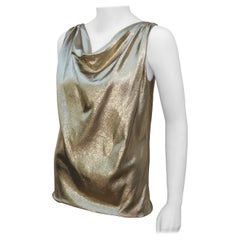Silk Blend Gold Lamé Draped Disco Top, 1970's