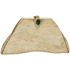 Silk Brocade Dance Purse with Emerald Cabochon Clasp, 1950s