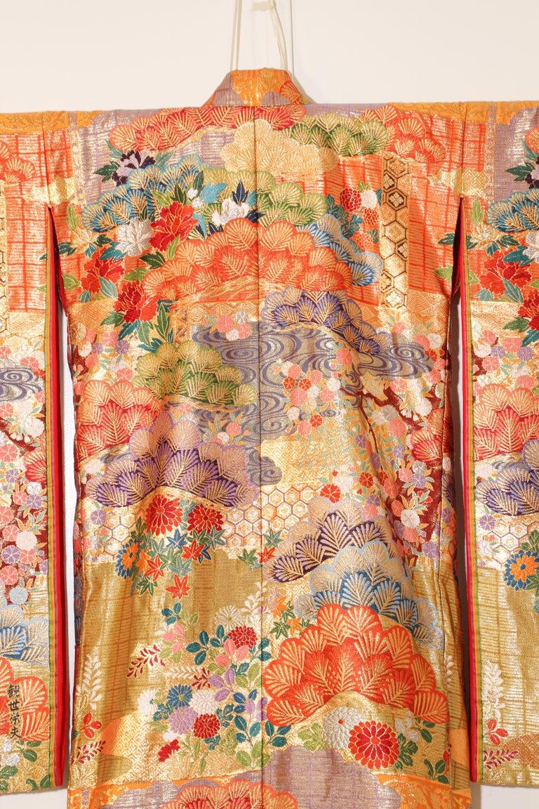 Silk Brocade Japanese Ceremonial Wedding Kimono For Sale 7
