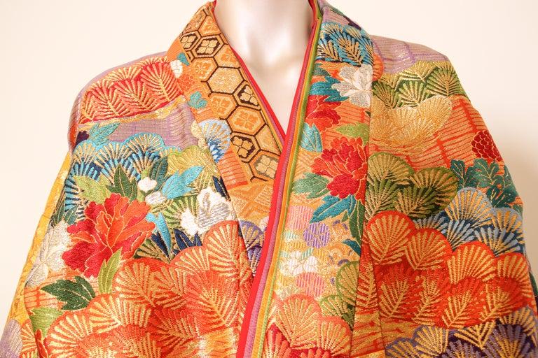 Silk Brocade Japanese Ceremonial Wedding Kimono For Sale 12
