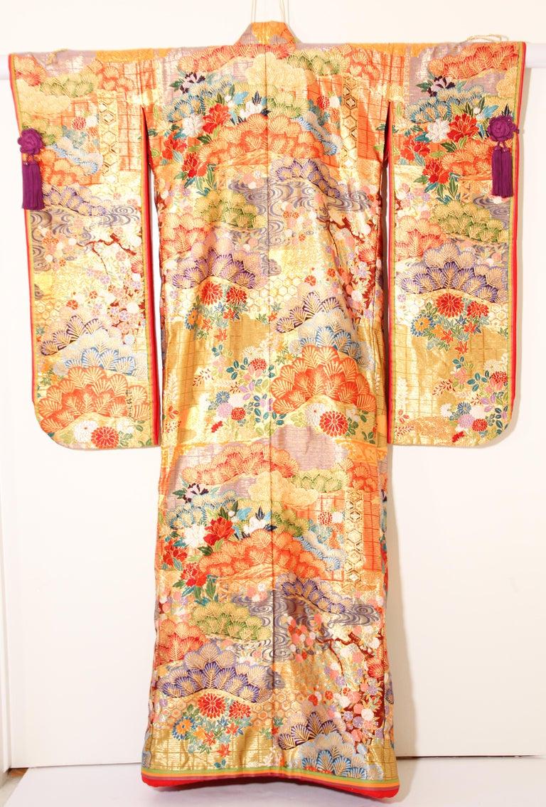 Japonisme Silk Brocade Japanese Ceremonial Wedding Kimono For Sale