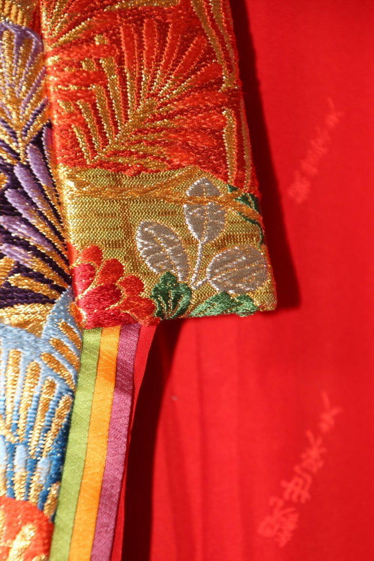 Silk Brocade Japanese Ceremonial Wedding Kimono In Good Condition For Sale In North Hollywood, CA