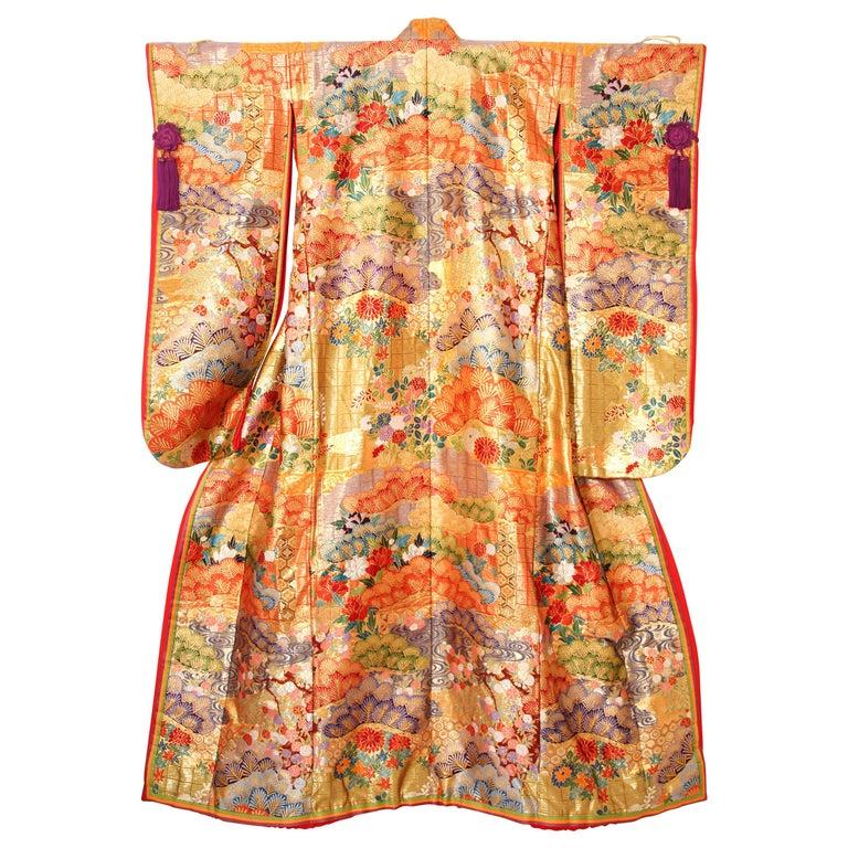 Silk Brocade Japanese Ceremonial Wedding Kimono For Sale