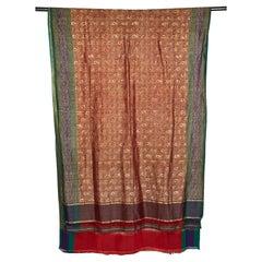 Silk Brocade Vintage Indian Sari, Mid 20th Century