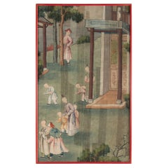 Silk, Chinese Painting, 19th Century, Temple Scene, Asia