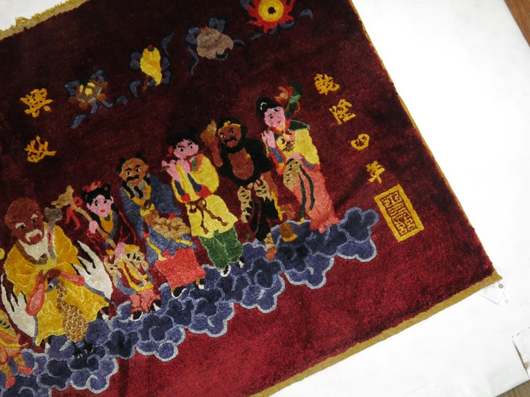 Mid-20th Century Silk Chinese Red Pictorial Rug For Sale