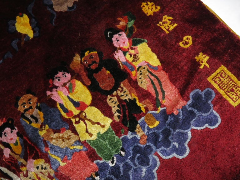 Silk Chinese Red Pictorial Rug For Sale 3
