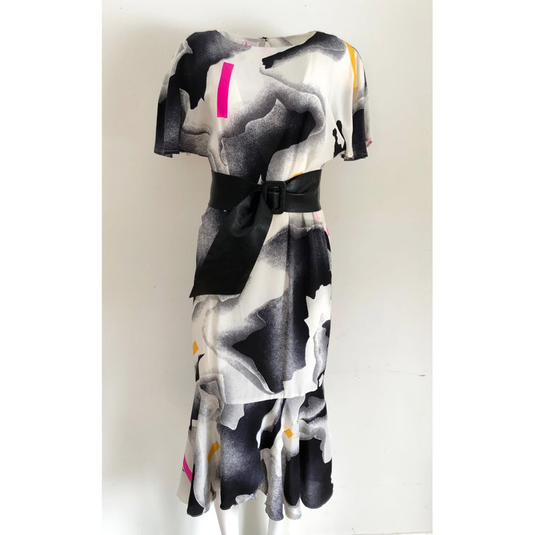 Women's Silk crepe Flora Kung NWT cocktail black white neon mermaid long dress  For Sale