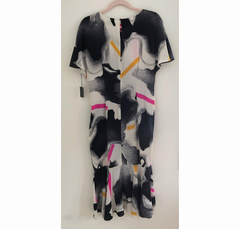Silk crepe Flora Kung NWT cocktail black white neon mermaid long dress  For Sale 2