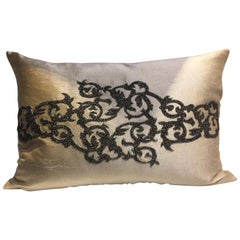 Silk Cushion Color Birch Silver Beading Damask Design Hand Embroidery