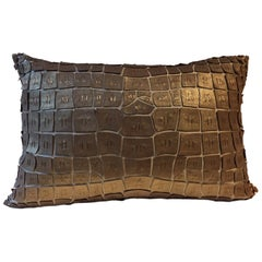 Silk Cushion with Hand Embroidered Gold Leather Patchwork Crocodile Design