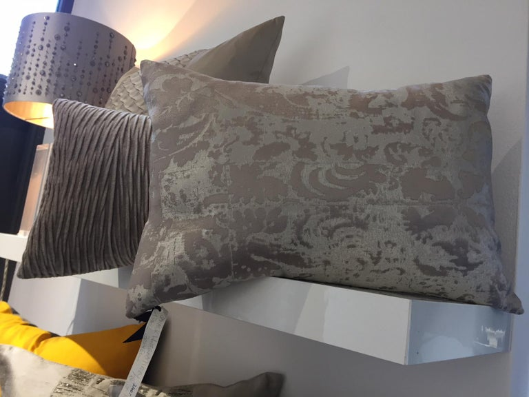 Contemporary Silk Cushions Modern Damask Pattern Color White Gold and Ivory For Sale