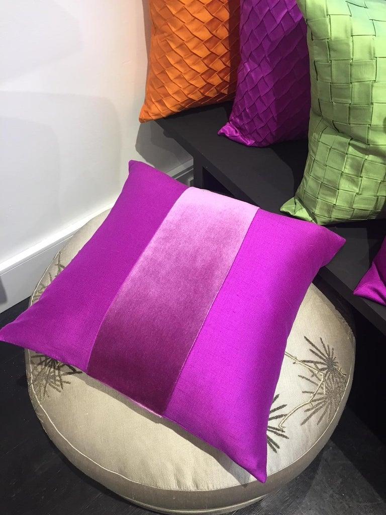 Ikat Silk Cushions Mohair Centre Stripe Colour Cyclamen For Sale