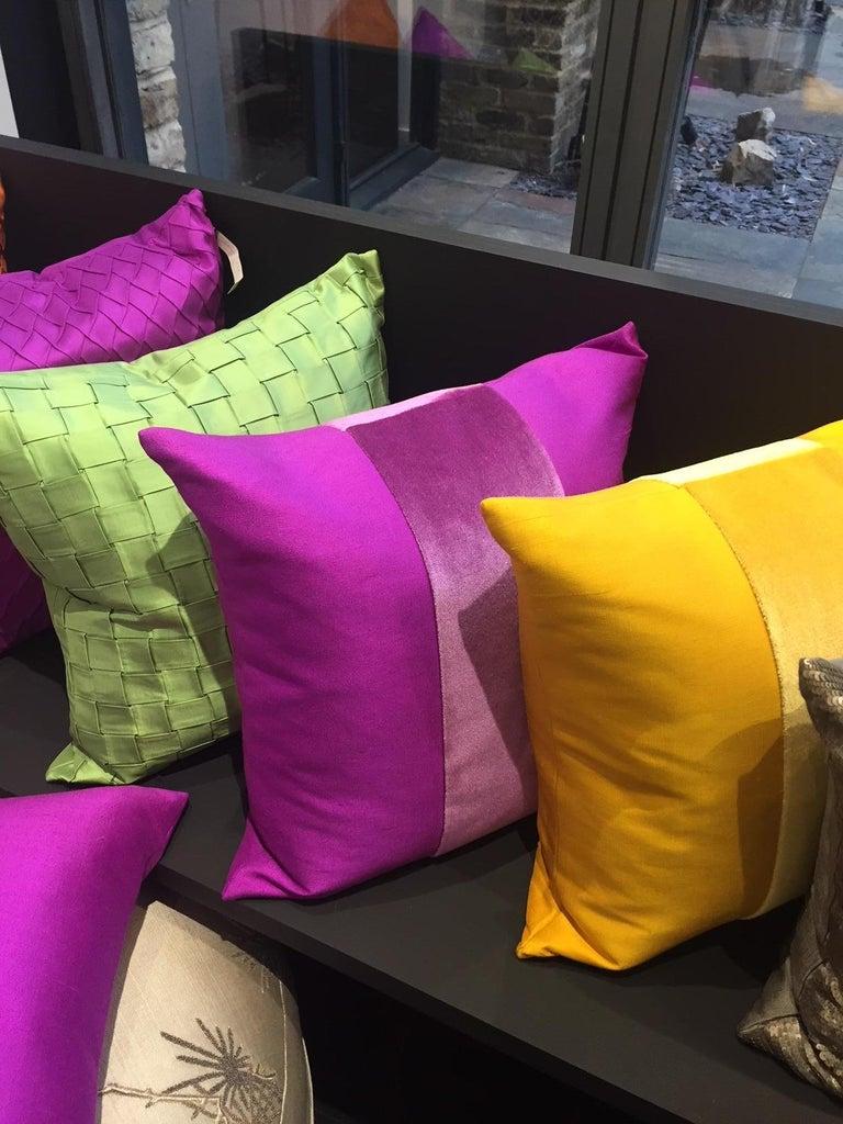 Silk Cushions Mohair Centre Stripe Colour Cyclamen In New Condition For Sale In Hamburg, DE