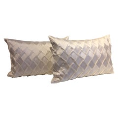 Silk Cushions Pleated Opal Pattern Embossed Color Oyster Rectangular Size
