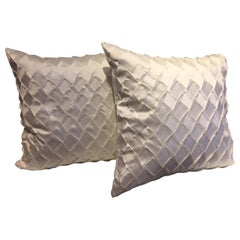 Silk Cushions Pleated Opal Pattern Embossed Color Oyster Square Size