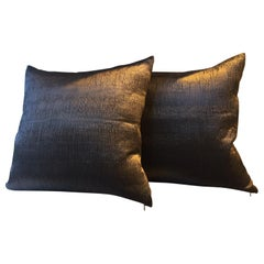 Silk Cushions Pleated Pattern Embossed Color Brown Square Size