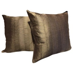 Silk Cushions Pleated Pattern Embossed Color Platinum Square Size