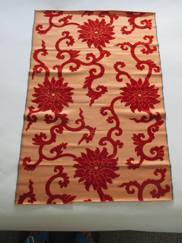 Silk cut velvet burnt orange obi textile. Large chrysanthemums and vines. Ideal for a pillow or upholstery. Size: 22.5