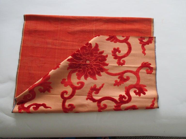Japanese Silk Cut Velvet Burnt Orange Obi Textile For Sale