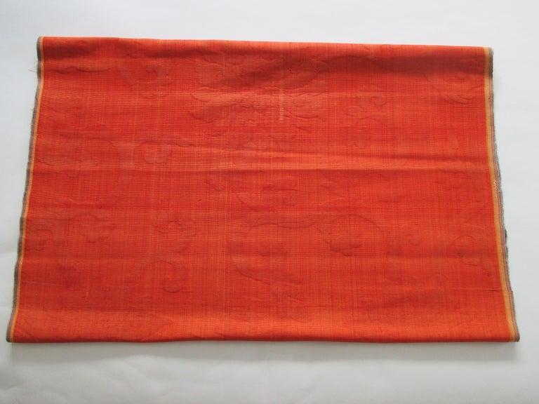 Hand-Crafted Silk Cut Velvet Burnt Orange Obi Textile For Sale