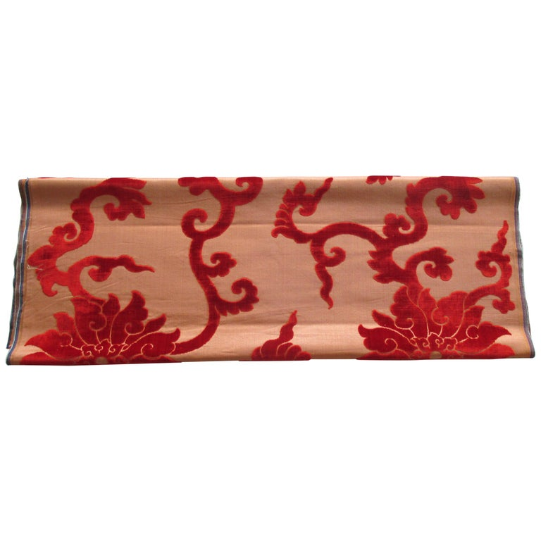 Silk Cut Velvet Burnt Orange Obi Textile For Sale