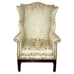 Silk Damask Wingback Library Chair