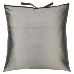 Silk Dupioni Throw Pillow Carbon