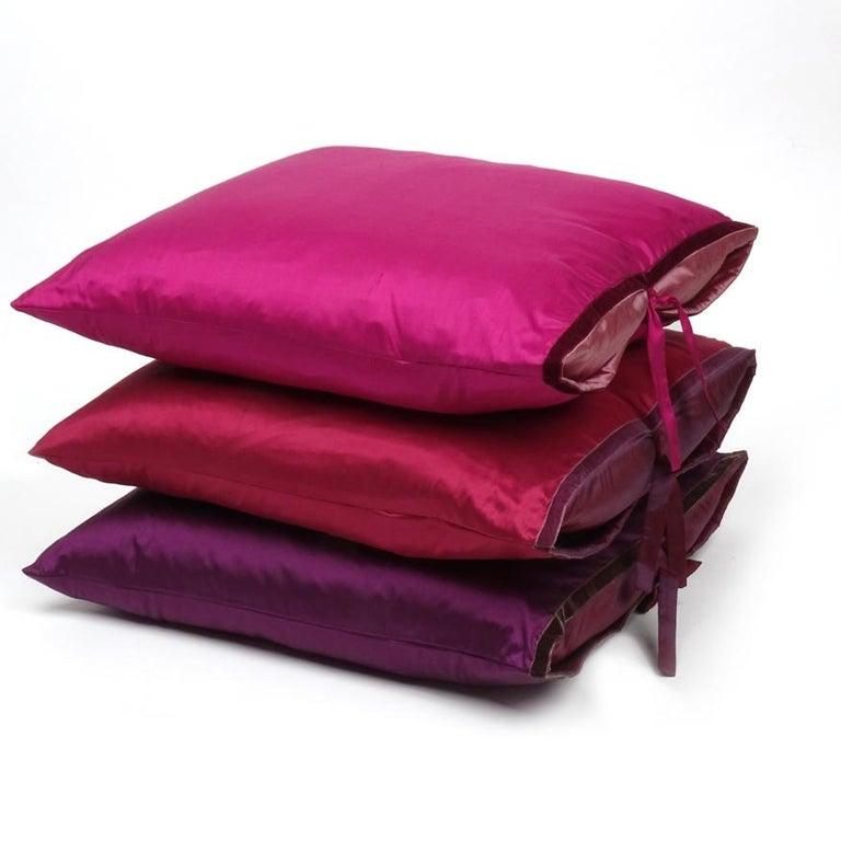 American Silk Dupioni Throw Pillow Raspberry For Sale