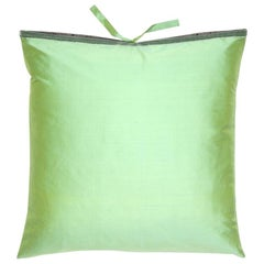 Silk Dupioni Throw Pillow Sea Mint
