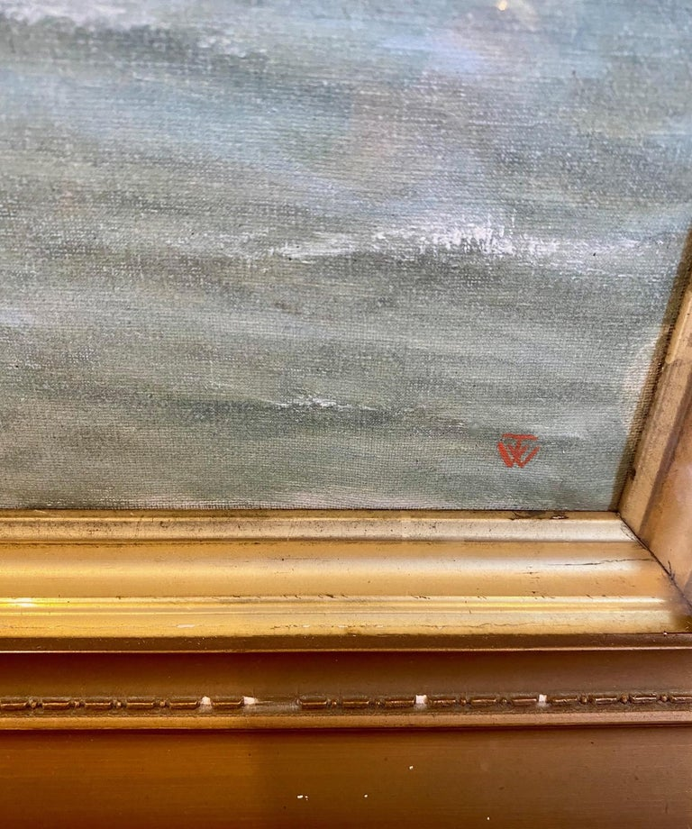 Late Victorian Silk Embroidered Hand Painted Seascape by Thomas Willis, circa 1890 For Sale