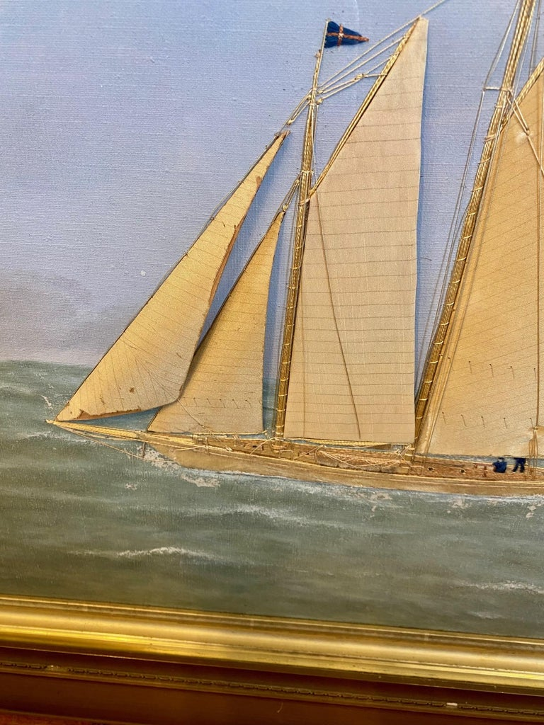 American Silk Embroidered Hand Painted Seascape by Thomas Willis, circa 1890 For Sale