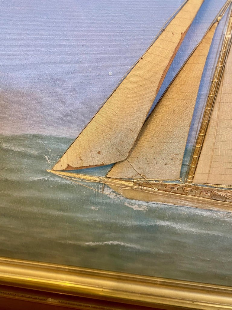 Late 19th Century Silk Embroidered Hand Painted Seascape by Thomas Willis, circa 1890 For Sale