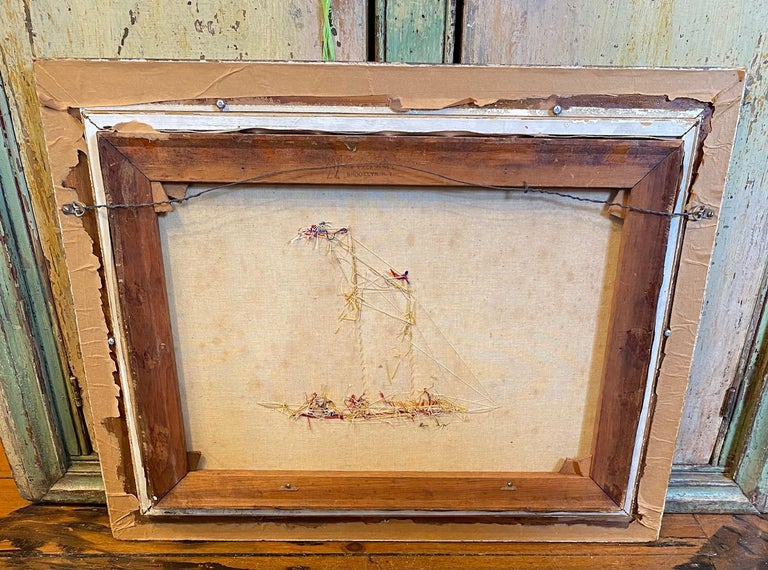 Silk Embroidered Hand Painted Seascape by Thomas Willis, circa 1890 For Sale 1