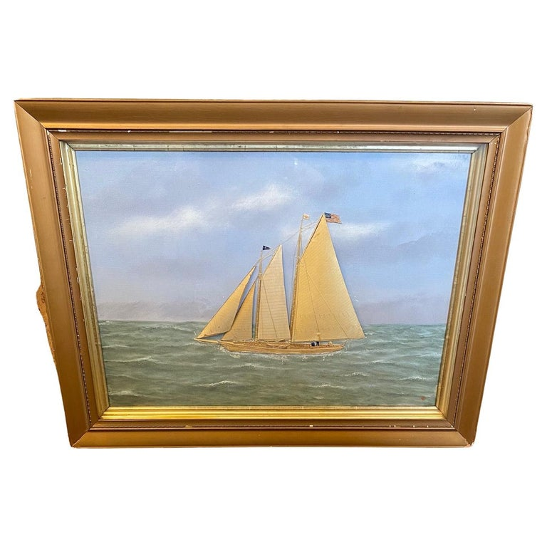Silk Embroidered Hand Painted Seascape by Thomas Willis, circa 1890 For Sale
