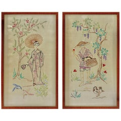 Silk Embroidered Pictures Depicts a Young Lady in an Outdoor Setting