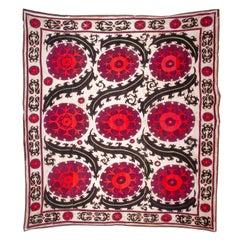 Silk Embroidered Suzani from Samarkand Uzbekistan, Early 20th Century